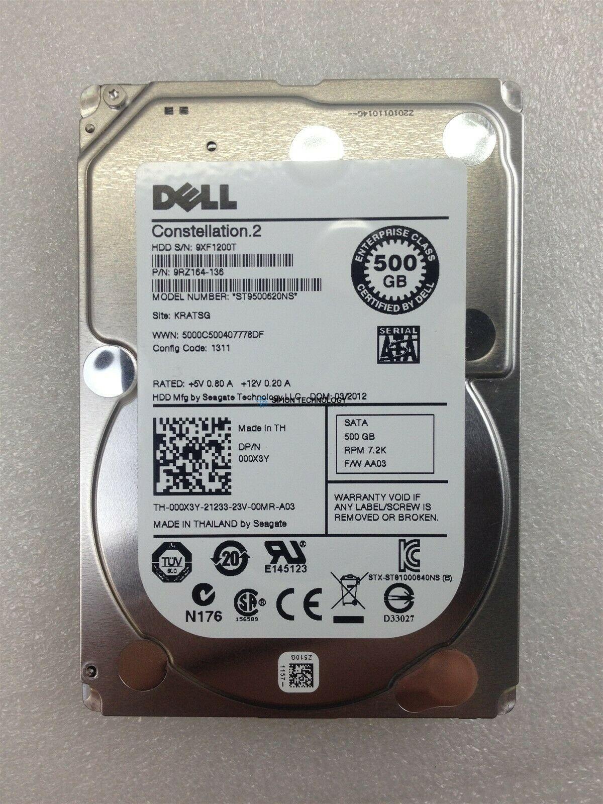 Dell DELL 500GB 7.2K 2.5 SATA 6G HARD DISK (000X3Y)