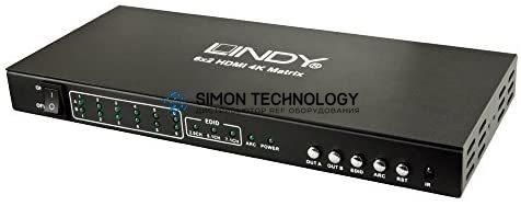 Lindy HDMI 2.0 4K UHD 6x2 Matrix. 6 In 2 Out (38148)