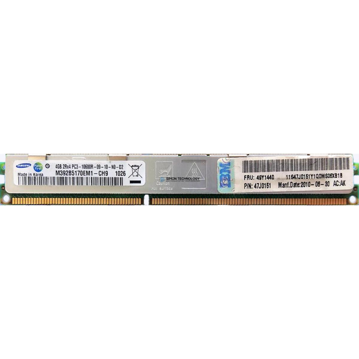 Оперативная память IBM IBM 4GB (2Rx4) 1.5V PC3-10600 VLP RDIMM (47J0151)