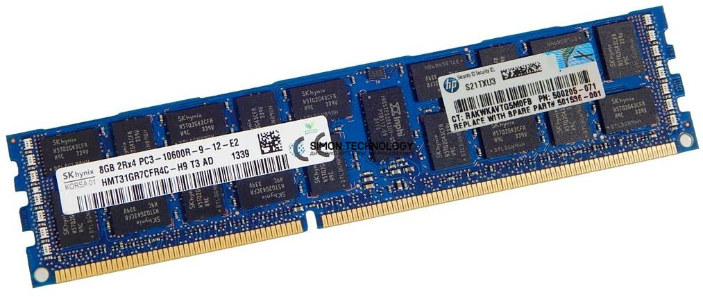 Оперативная память HP ORTIAL 8GB (1*8GB) 2RX4 PC3-10600R MEMORY KIT *LIFETIME WNTY* (501536-001-OT)