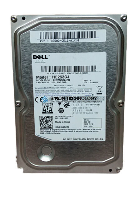 """Dell DELL 250GB 7.2K 3.5"""" SATA HDD (HE253GJ)"""