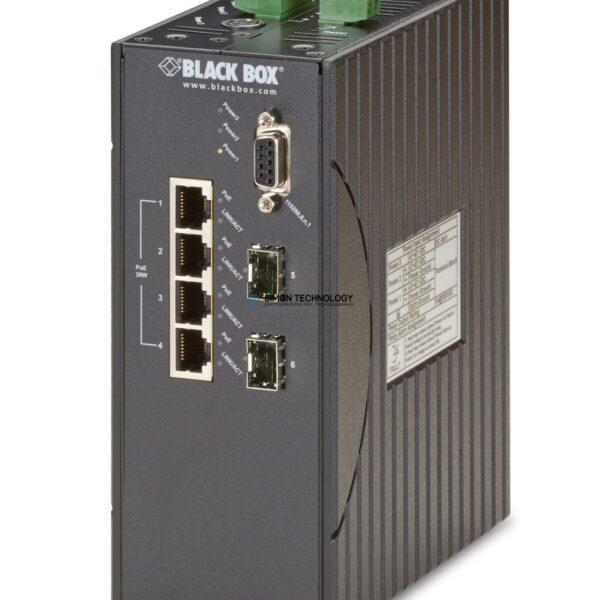 Black Box Hardened Managed 10-100 Ethernet Switch PoE+ (LEH1104A-2SFP)
