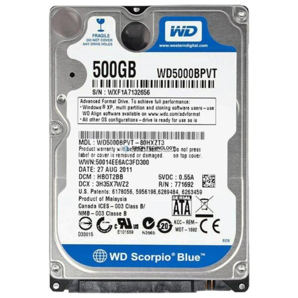WD Scorpio Blue 500GB 2.5in 5400rpm SATA Hard Drive (WD5000BPVT)