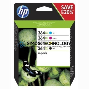 HP 364 4-Pack - 4er-Pack - Schwarz, Gelb, Cyan, Magenta (N9J73AE#301)