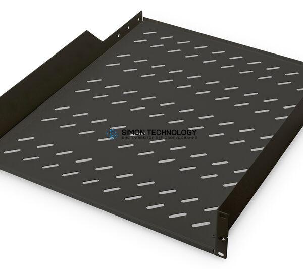 Digitus 2U rack mount fixed shelf vented. Black (RAL 9005) (DN-19 TRAY-2-55-SW)